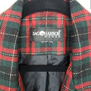 Sag Harbor Jackets & Coats - Vintage Sag Harbor Plaid Green Red Gold Blazer